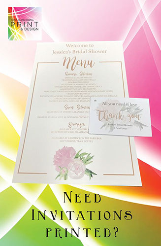 wedding printing, including invitations, signs, table charts and more